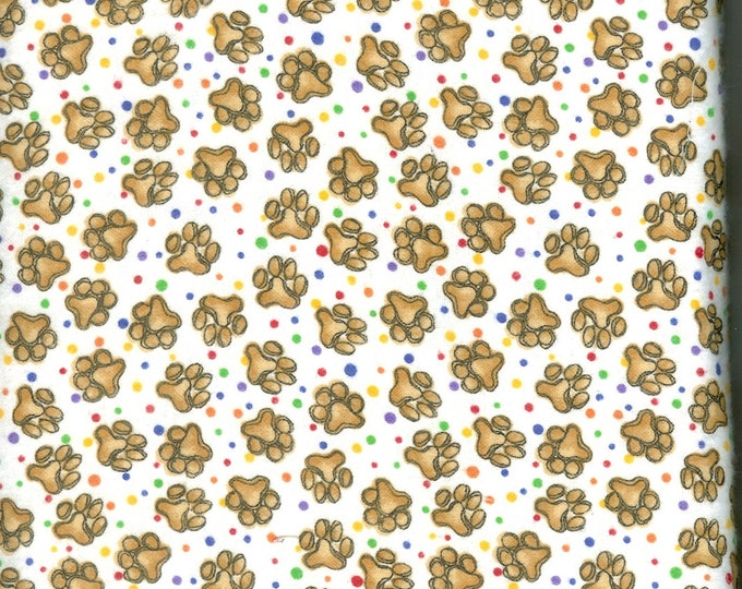 Paw print cozy cotton FLANNEL, sold by the yard  #34