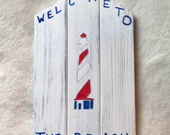 Lighthouse, beach, Welcome