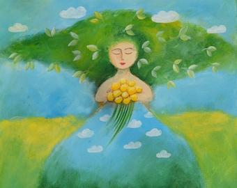 Spring - original acrylic painting on canvas