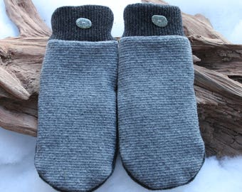 Wool sweater mittens lined with fleece with Lake Superior rock buttons in gray, Christmas, coworker gift, birthday, beach stones, winter