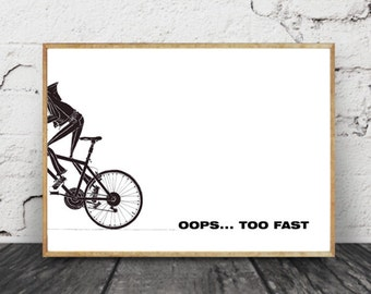 Bicycle Art Print, Bike Art Print from the Original Ink Drawing Bike Gift Bicycle Lovers Bicycle Gift Bicycle Wall Art Bicycle Art Poster