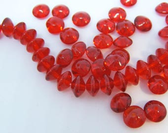 25 - Fire-polished Ruby Red Glass Czech 6mm Saucers