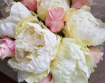 Peony and Pink Rosebud Bridal Bouquet