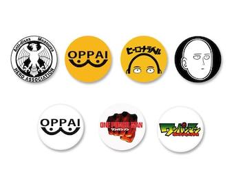 Lot Pins Ø25mm - o38mm Pinback Button Badge / Magnet o38mm One Punch Man