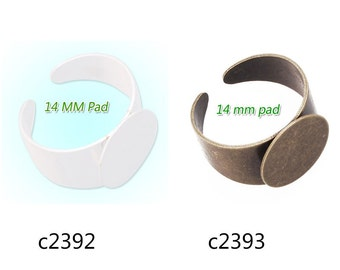 20PCS Adjustable Ring Blanks Base With 14MM Blank Pad,ring setting,adjustable ring blanks