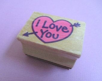 Heart I Love You Papercraft Rubber Stamp Calligraphic Heart Stamp DIY Card Making Wedding Invitation Valentine Anniversary Cards