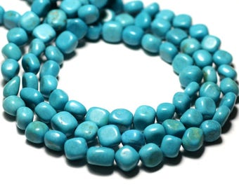 20pc - stone beads - Turquoise Nuggets pebbles 7-10mm - 8741140014336 synthesis