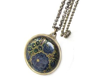 Floral Enamel Gold Tone Pendant Necklace - Navy Blue, Gold Accents, HIT USA, Vintage Necklace, Vintage Jewelry