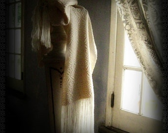 Ivory silk wool stole wrap handwoven scarf