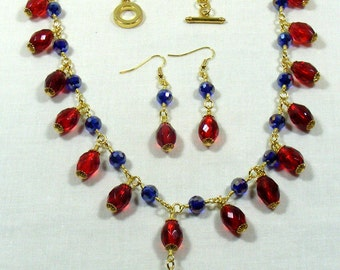 Red and Blue Glass Jewellery Set