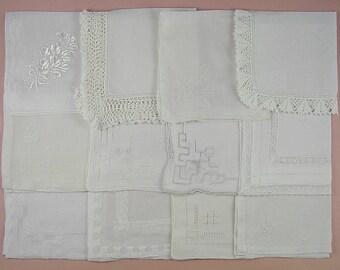 Wedding Hanky Lot,Vintage Hanky Lot,One Dozen White Wedding Vintage Hankies Handkerchiefs  (Lot #95)