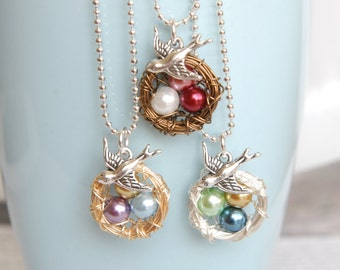 Wire Wrapped Nest Necklace - Pearl Nest Necklace - Bird Nest Jewelry - Birthstone Necklace - New Mom Gift - Wire Wrapped Necklace