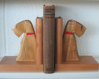 Ruff and Tuff Terriers carved wood bookends wooden dogs