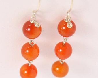 Carnelian - Silver earrings