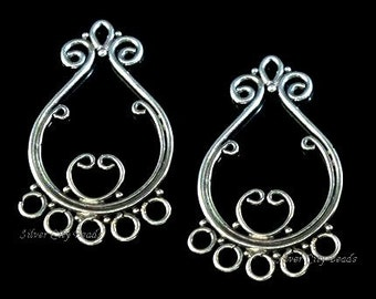 Bali Silver Chandeliers Sterling Silver  Componet  28.5x17x1 mm, 1 pair, SALE 15% off