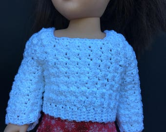 White Crochet Sweater for American Girl