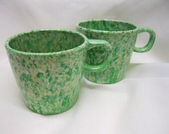 Vintage Prolon Melmac Cups Mugs Confetti Green 9904