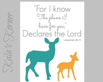 WOODLAND NURSERY ART - Forest Nursery art, Forest Animals nursery, Deer Nursery, Orange Teal , Playroom art, Deer Wall art, bible verse