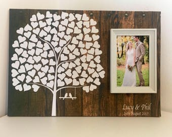 Wedding guest book alternative - Wedding guestbook- Wedding guest book wood effect- gastebuch alternative