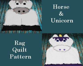 Horse & Unicorn Rag Quilt Pattern