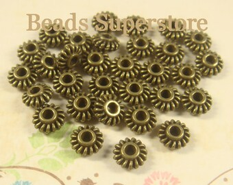 7 mm x 3 mm Antique Bronze Spacer Bead - Nickel Free, Lead Free and Cadmium Free - 25 pcs