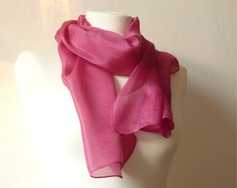 naturally dyed pink silk scarf eco friendly hand dyed scarf pink scarf cochineal scarf fuchsia scarf fuchsia silk scarf