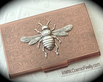 Copper Business Card Case Silver Bee Steampunk Card Case Bee Card Holder Gothic Victorian Style Card Case New Handcrafted Card Case Metal