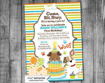 Dog Birthday Invitation | Boy Puppy Birthday Invitation | Dog Invite | Party Invitation | 5x7 | Printable | Customized | Beagle