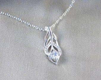 Silver Necklace Zirconia Leaf Pendant