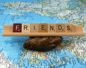 FRIENDS Scrabble Letters Sign RECYCLED