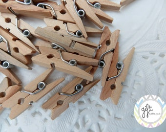"""100 Mini Wooden Pegs Clothes Pins 1"""" Arts and Crafts, Wedding, Parties, Favours"""