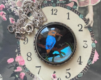 Let's Go Fishing! Vintage Art Nouveau Sterling Silver Hallmarked Kingfisher Butterfly Wing Necklace Chain - Art Deco - Thomas Mott