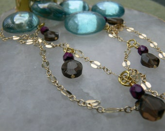 Royal Kate Gold Necklace with Smokey Quartz