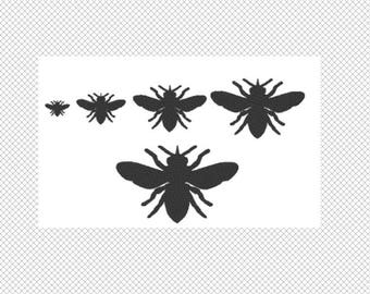 Solid Bee Embroidery Design File - multiple formats - 5 sizes - one color design - instant download