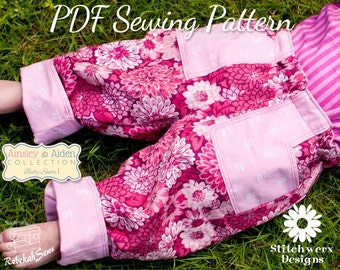 Baby Pants Pattern, PDF Sewing Pattern, Easy Baby Pants, Cuffed Baby Pants, Sew Baby Pants, Sew Baby Gifts, Sew Baby Clothes,