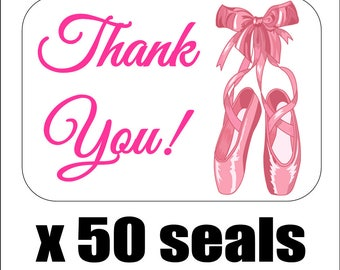 "50 Ballet Slippers Thank You Envelope Seals / Labels / Stickers, 1"" by 1.5"""