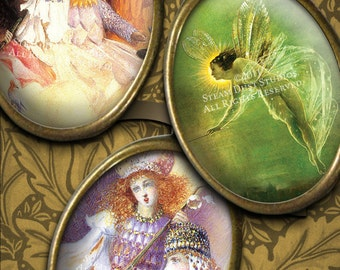 Victorian Fairy Paintings - 30x40mm Cameo-Size Images - Digital Collage Sheet - Instant Download - Fairy Printables - Digital Jewelry Art