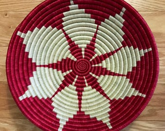 Beautiful Red/white African Baskets/Fruit Baskets ****Free shipping