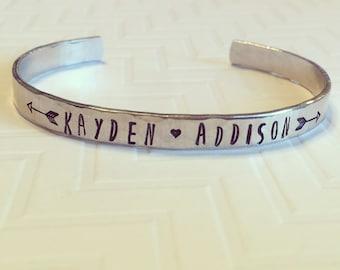 Name Bracelet - Mother Bracelet - Grandma Bracelet - Couple Bracelet - Hand Stamped Personalized - Thin Silver Bracelet - Stacking Bracelet