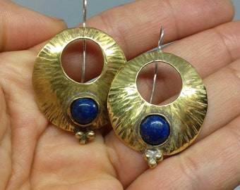 Earrings in brass and silver 925 with lapis lazuli stones