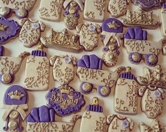 royal baby shower sugar cookies