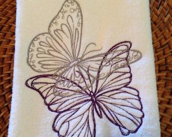 Butterflies - Duo - Fingertip Velour Bathroom Towel - JD Designs