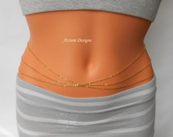 Lolita Belly Chain, Layered Belly Chain, Body Chain, Gold Belly Chain, Belly Chain, Dainty Belly Chain, Belly Dancing Chain