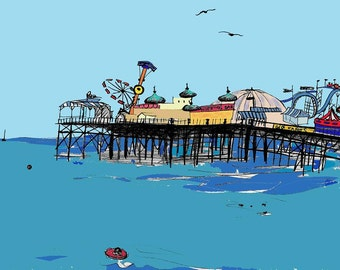 Brighton seaside print - Archival quality limited edition print 'Brighton Pier
