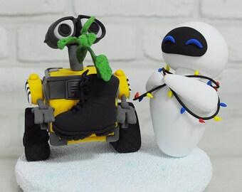 Wall E and EVA with planter custom wedding cake topper gift decoration