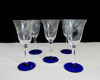 Vintage Etched Crystal Stemmed Cordials - Cobalt Blue