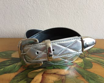 Silver Belt Metallic Quilted Faux Leather Vintage