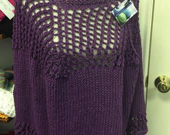 Cotton  Poncho, Hand Knit in Plum Purple Yarn
