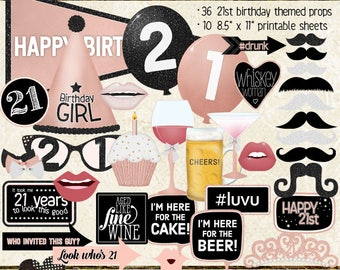 Photo Booth Props, HAPPY 21ST BIRTHDAY, girl, rose gold, selfie station, birthday party, printable sheets, instant download