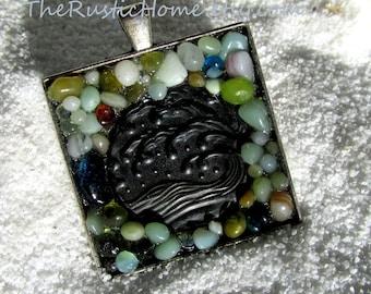 Beach glass pendant ready to ship colorful beach glass stones gifts custom pendant jewelry pewter glass beach wedding anniversary nautical